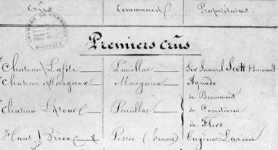Bordeaux Grands Crus Classés 1855 - detail