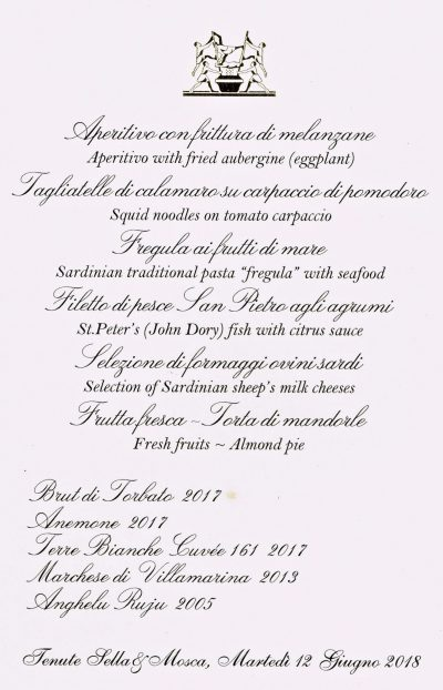 Sella e Mosca Lunch menu and wines