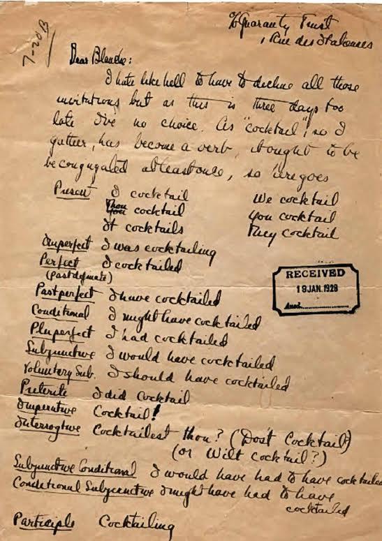 F. Scott Fitzgerald conjugates To Cocktail