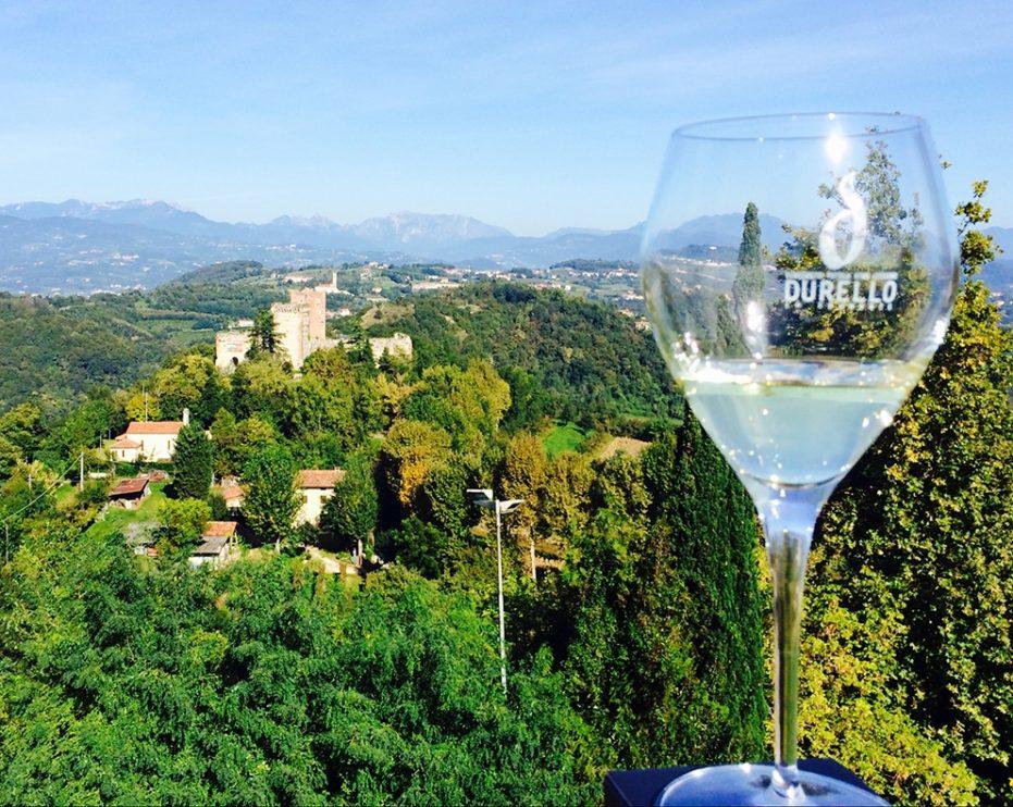 Lessini Durello glass and panorama