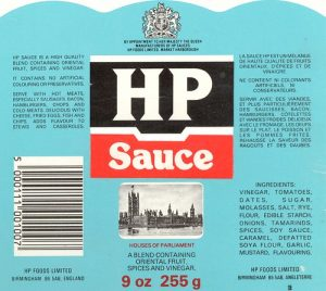 HP Sauce Label, including French