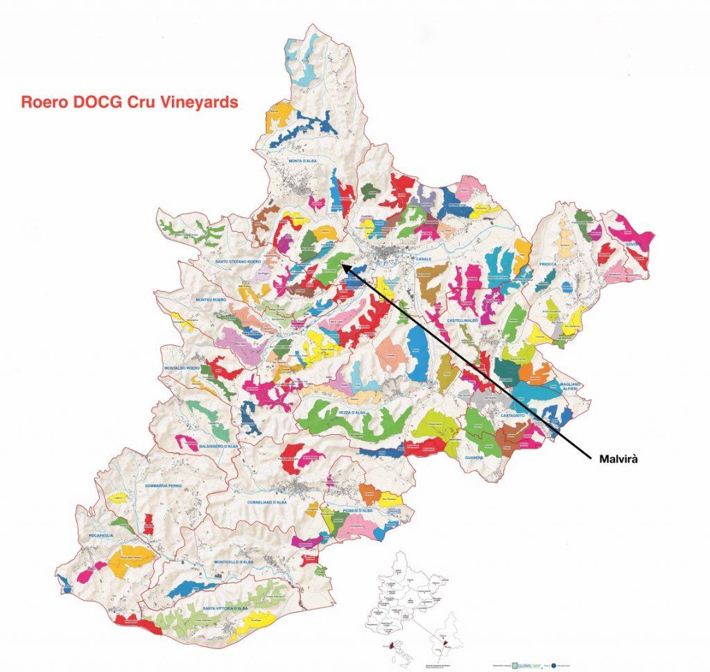 Roero DOCG map showing vineyards and location of Malvirà