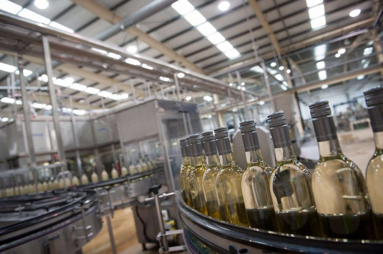 Bulk Wine: A bottle filling line at Encirc, UK
