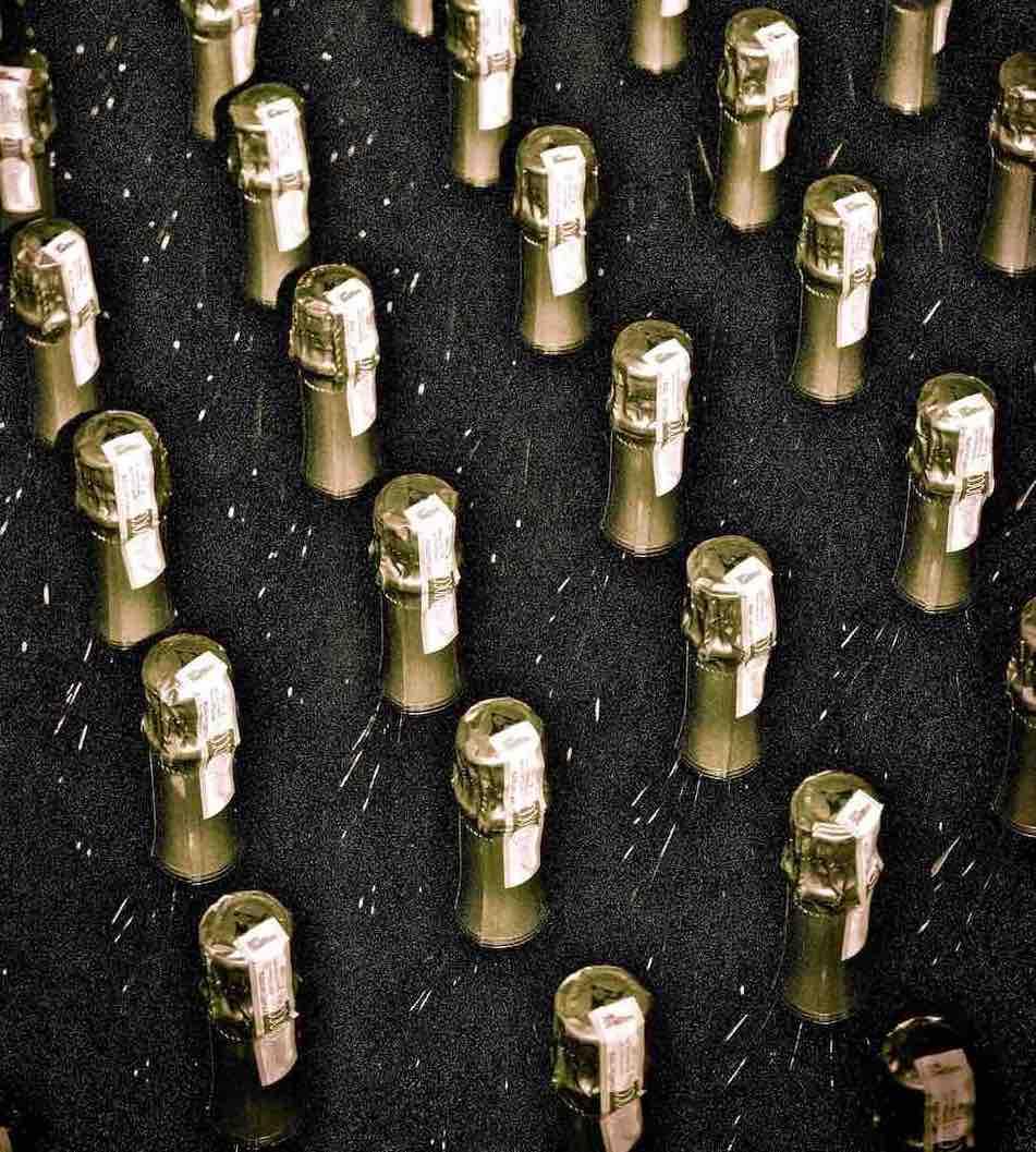 Sparkling wine bottles